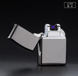 Wholesale Metal Lighter Mini - Wholesale-New Gift Windproof Mini Glass Lighters Ultrathin Metal Arc Pulse Charging Mercedes USB Key Electronic Cigar Cigarette