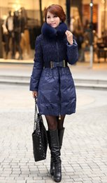 Wholesale Blue Fox Fur Xl - Occident Fashion Women Down Coats Thickening Slim long Down Coats Lovely Princess Style With Fox fur Collar Women Outwear Coats