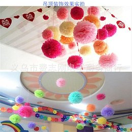 Wholesale Pompom Paper - Super Popular Tissue Paper Pom Poms Wedding Party Baby Living Room Decoration Home Pompoms Festive Fashion Party Decorative Flowers