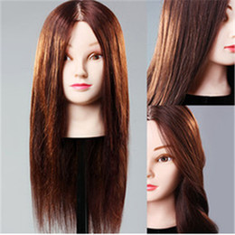 Wholesale Female Mannequin Plastic - Professional plastic female mannequin heads with stand 100% natural hair for barber training use 3 colors