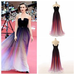 Wholesale Ladies Formal Wear Fashion - 2016 Elegnat Colorful Elie Saab Ombre Chiffon Evening Dresses Formal Wears For Ladies Lily Collins Party Gowns Celebrity Prom Dress Long