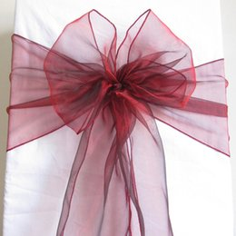 Wholesale Wholesale Chair Bows - 100 Dark Red Organza Chair Sashes Crimson Deep Red Crystal Table Sample Fabric wedding Bow Gift -SASH