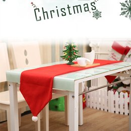 Wholesale Red Dining Tables - 34*176cm Red Chirstmas Table Cloth Xmas Tablecloth Dining Kitchen Tool Table Cover Christmas Dinner Party Decorations Ornament IB526