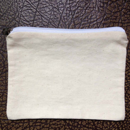 Wholesale Small Fabric Coin Purse - (120pcs lot)plain natural light ivory blank cotton twill zip pouch for DIY print paint 5*7in mini cotton coin purse small cotton bag