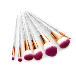Wholesale Cosmetic Acrylic - 7pcs Acrylic Diamond Shape Makeup Brush Set Beauty Cosmetics Blusher Powder Blending Smooth Brush Tools Contour Makeup Tool 35
