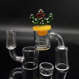 Wholesale Drop Crystals - 2mm XL Flat Top Quartz Thermal banger nail Removable insert Drop Honey Bucket with cactus UFO Carb Cap for Water Bongs Oil Rig