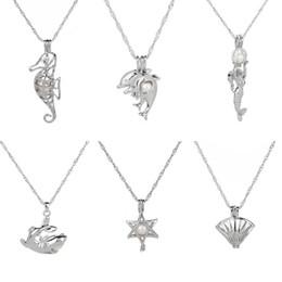 Ciondoli amore ciondoli online-Collana pendente della gabbia della perla di desiderio di amore all'ingrosso con la miscela della perla dell'ostrica 19 Collana della catena della clavicola del Locket di fascino di disegno di modo 19 J3S