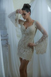 Wholesale Long Sleeve Lace Sequin Mini - 2015 Sexy Short Celebrity Dresses with V Neck Poet Long Sleeves Lace Appliques Sequins Mini Party Evening Dresses Pageant Dresses