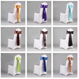 Wholesale Peach Ribbons - 120 PCS Peach Color Satin Chair Sash Chiar Ribbon For wedding decoration DHL Fedex Free Shipping