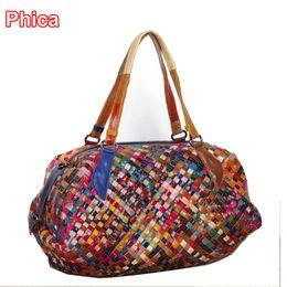 Wholesale Womens Travel Purse - Wholesale-Vacation Sale!New Fashion Womens Weave Woven Shoulder Tote Shopping Beach Bag Purse Handbag Women Travel Bags