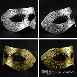 Wholesale Ups Greece - New Mens Halloween Greece Rome warrior make up mask half face masquerade Grace dance party mask colors gold silver Half Face Mask Hm06