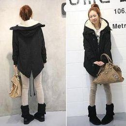 Wholesale Beams Plus - Wholesale-M-XXL New Green and Black Women Faux Fur Thicken Winter Warm Long Coat Parkas Jacket Beam Waist Clothes With Cap Plus Size WT040