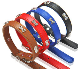 Wholesale Cheap Collars For Dogs - Middle Cute PU Pet Training Collar Charming Dog Cat Collar With Bone For Small Middle Pets Cheap 4 Color Mix Order 10PCS LOT