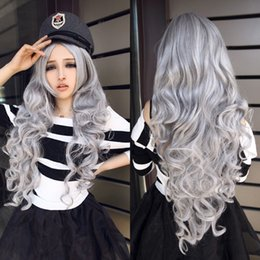 Wholesale Cosplay Grey Hair - grey wig long High Quality realistic synthetic wig lolita ladies women fashion liangli hair cute wigs cheap cosplay wigs curly