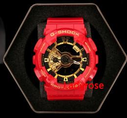 Wholesale Men S Watches G Shock - New style Red gold G Sports GA100 auto light LED DW Waterproof Digital S Shock Men 110 Watch All Pointer Work Original Box DropShip