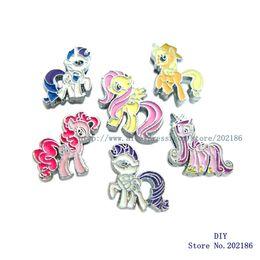 Jóias fazendo encantos cavalos on-line-50 pcs Mix estilo My Little Ponys Cavalo 8mm Encantos de Slides Fit Dog Pet Cat Tag Colar Pulseira Pulseira Jóias Fazendo Frete Grátis
