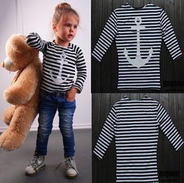 Wholesale Kids Anchor Clothing - Kids clothes boys girls spring clothing anchors stripe top kids fashion T-shirt 100% cotton 5p l