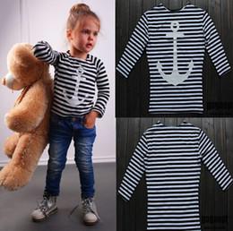 Wholesale kids anchor clothing - Kids clothes boys girls spring clothing anchors stripe top kids fashion T-shirt 100% cotton 5p l