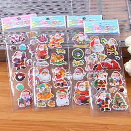 Wholesale Bubble Toys For Children - 500Pcs 7x17cm(2.7x6.7inch) 3D Christmas Bubble Stickers for children Kids Santa Claus tree elk Cartoon Wall Desk Book Stickers gift toys