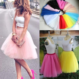 Wholesale color cocktail knee length dresses - Real Image Knee Length Skirts Young Ladies Women Bust Skirts Adult Tutu Tulle Skirt A Line Ruffles Skirt Party Cocktail Dresses Summer