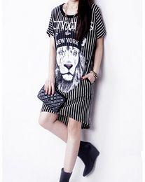 Wholesale White Shift Fashion Dress - Wholesale-White Stripes Lion Animal Prints Short Sleeve Staight Shift Mini Jersey Casual Long t shirt Dress 2016 Summer New Women Fashion