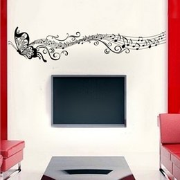 Wholesale Butterfly Wallpaper Decor - Hot Sale Removable Music Butterfly Wall Sticker Decals Home Decor Room Decoration Art Vinyl Wallpaper