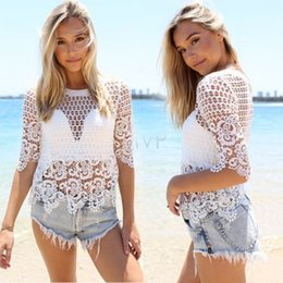 2bb405602e Sexy Summer Lace Crochet Beach Cover Up Swimsuit Bikini Swimwear Wrap Beach  Tops Lace Bathing Suit Cover Ups Bikini Summer 50
