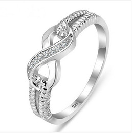 Wholesale Silver Ladies Ring Bands - Wholesale-Genuine 925 Sterling Silver Jewelry Designer Brand Rings For Women Wedding Lady Infinity 3.5 Ring Size