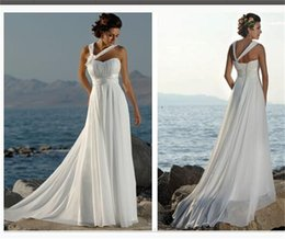 Wholesale One Shoulder Beach Dress - Cheap Under $60 Beach Wedding Dresses Halter Chiffon Long Bridal Gowns Lace Up Elegant White Foraml Wear Formal Party Gowns 2016