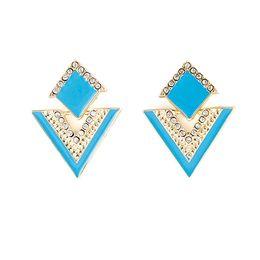 Wholesale Triangle Dangle Earrings Fashion - Brincos Triangle Colorful Enamel Rhinestone Alloy Dangle Earrings for Women Fashion Jewelry Christmas Gifts