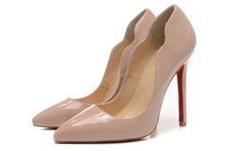 Wholesale ladies party footwear - Bare Leather with Wavy Heels with Spikes Red Bottom High Heels Women Shoes 12cm High Heel Ladies Female Shoes Footwear Pumps Wedding Shoes
