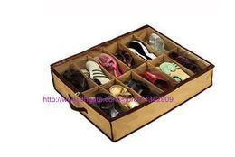 Wholesale Shoes Closet Organizer - 1set Shoe Storage Box Foldable Organizer Holder Fabric Bag Intake shoes Under Bed Closet Canvas can put 12pairs shoes