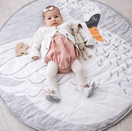 Wholesale Carpet Crawl - Wholesale- Cotton Kids Baby Play Mats Round Carpet Rugs Mat Swan Crawling Blanket Kids Room Flooring Mat Carpet Toy Mat For Kids Toys Gifts