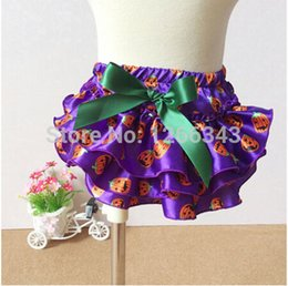 Wholesale satin diaper covers - Wholesale-Posh Halloween Diaper Cover Cosmetic Satin Purple Baby Bloomer With Green Bow