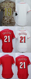 Wholesale Womens Camo Shorts Xl - Womens Cincinnati Jerseys 21 Todd Frazier 19 Joey Votto Blank Baseball Jerseys Ladies Shirt Stitched White Red Camo