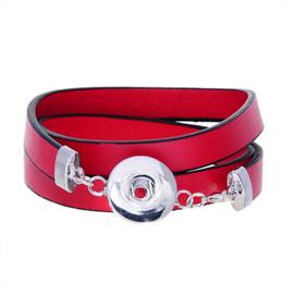2019 красные браслеты Noosa Красный Pu кожаные браслеты подходят Оснастки кнопки браслеты многослойные деформация браслеты 60 см (23 5/8