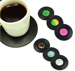 Wholesale Home Decor Coffee - New Arrive 6 Pcs set Home Table Cup Mat Creative Decor Coffee Drink Placemat Spinning Retro Vinyl CD Record Drinks Coasters
