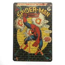 Carteles de la pared de superhéroes online-Spider Man Super Hero Retro Vintage cartel de chapa de metal cartel para hombre cueva garaje shabby chic etiqueta de la pared Cafe Bar decoración para el hogar