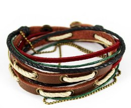 Wholesale Womens Brown Leather Bracelets - Mens Womens handmade leather wrap bracelets vintage brown genuine leather D0328