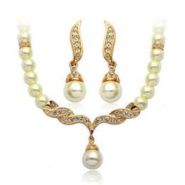 """Wholesale Crystal Wing Earrings - New 18K Yellow Gold Plated Crystal Paved Wing of Angel 18"""" Necklace Earrings Fashion Bridal Wedding Pearl Jewelry Sets Gift for Women"""