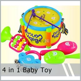 Wholesale Girl Playing Toys Cartoon - Hot Selling 4 In 1 Kids Child Baby Gift Play Learning Educational Toys Music Toy Drum Set