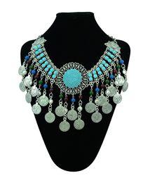 Wholesale Tibetan Chokers - Bohemian Tibetan silver plated round charms coins tassel beads choker necklace turkish boho