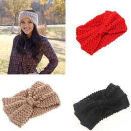 Wholesale Ladies Winter Headbands - Lady Cozy Thick Knit Headband Turban Ear Warmer For Women Winter Headband Bow Stretch Hairband Headwrap