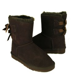 Wholesale Tall Heeled Shoes - DORP SHIPPING 2015 wholesale! New Fashion Australia classic tall BGG winter boots real leather Bowknot women's snow boots shoes with gift