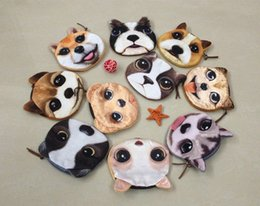 Wholesale Dog Shaped Handbags - 20 pcs New 3D Printed Cute Dog face Zipper Coin Purse handbags Women store Wallets holders Animal Change bags Coins Bag purses wallets