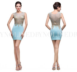 Wholesale Elegant Scooped Back Cocktail Dress - Ice Blue Short Homecoming Dresses 2015 Gold Appliques Elegant Prom Dress Scoop See Through Sheer Back Sexy Cocktail Gown Custom Made