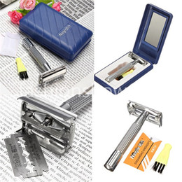 Wholesale Wholesale Shaving Sets - Free Shipping Men Alloy Traditional Style Safety Blade Shave Hair Razor with Mirror Shaving Set