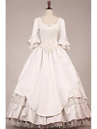 Wholesale Tiered Ball Gown Taffeta - Vintage Victorian Wedding Dresses with 3 4 Long Sleeves V Neck Lace Tiered Ball Gown Wedding Gowns Sweep Train Bridal Gowns Arabic dresses