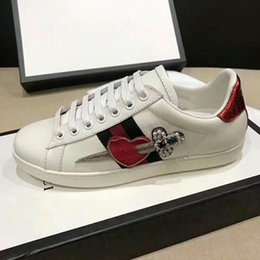 Wholesale Genuine Patch Leather - The classic low-top sneaker in leather with Web detail. luxury 2017 quality Men's shoes free MATCH-UP SNEAKERAce pierced heart patch size35-