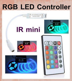 Wholesale Remote Controlled Led Strips - 24 Key Wireless IR Remote Control 12V RGB LED Mini Controller Dimmer for rgb LED Strip 5050 3528 3 channels led lighting accessories DT003
